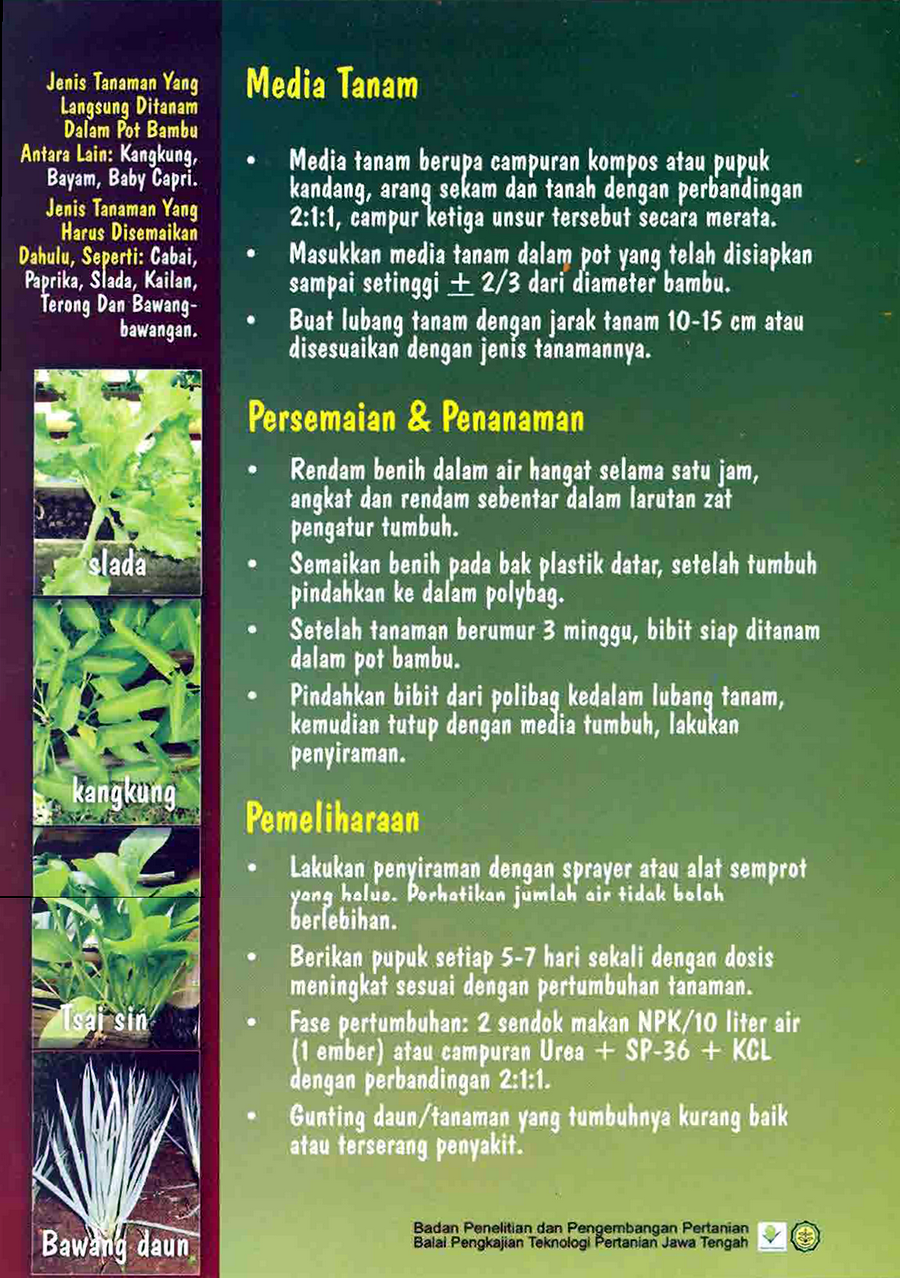 Budidaya Pertanian Bambu Indonesia Pupuk Tabah Organik Media Tanam Membudidayakan Sayuran Secara Vertikultur